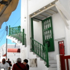 Architectural details are painted in strong primary colors in Mykonos