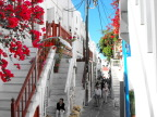 Mykonos town is laid out with tiny twisty alleys to foil pirate invaders