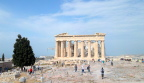 The Parthenon from its gateway atop the acropolis of Athens