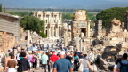 Early season crowds are tolerable. Here we descend toward the library in Ephesus.