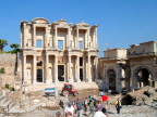 The library in Ephesus is reminiscent of the library facade at Petra, but this one held scrolls and was once the third largest collection in the world.
