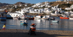 Fading daylight and fishing boats, Mykonos Harbor