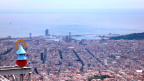 Barcelona from Mount Tibidabo. Norwegian Spirit-our recent home-is at the pier on the right.