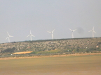 Wind power looms over salt marsh in the Côte d&Azur, France