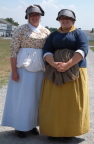 Guides in period dress at entrance to Fort George