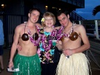 Personally welcoming two students at the Luau in Honolulu