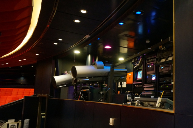 Lighting control booth for theater aboard the Holland America