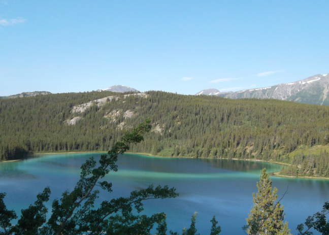 Lake is emerald from glacial silt