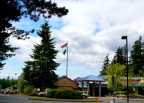 Flags flying at elementary school near Meg's house, Bothell Washington