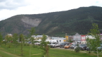 Moose slide (prehistoric landslide) dominates the Dawson City view