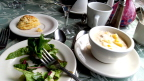 Corn-crab chowder, cheddar biscuits, super salad; created as a demo in Jewell Gardens, Skagway, AK
