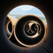 Through the pipes in the Anchorage rail yard