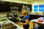 Tanya enjoys company and her new kitchen