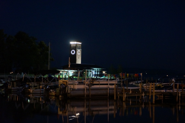 Boats and bell tower at night, Chautauqa, NY