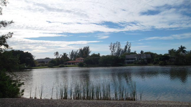 The view across one of the dozen ponds encircled by Sandcastle Road, Sanibal FL