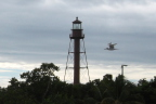 "A gull wings past the ""lighthouse"" on Sanibel's eastern tip, FL"