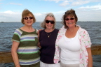 Susan, Cousin Ann, and Ann's daughter Mary on the lighthouse pier, Sanibel FL
