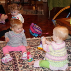 Sharing with cousin Katie Bell while Zoe watches