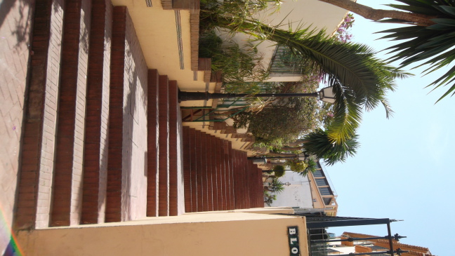 Garden steps near beach hotels, Torremolinos, Costa del Sol