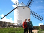 Joann and Susan tilting at windmills