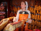 Slicing Iberian ham, grocery store in Cordoba