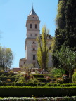 Gardens and church tower, Alhambra