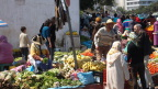 Vegetable market in Tangiers; shy Berber women in hats