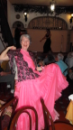 Joann tries out a dress at flamenco show