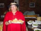 Dona Maria, owner of stud farm, Portugal, serves us lunch: soup, salad, chicken