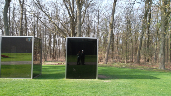 Susan and Mary blended with art and nature, Kroller-Muller sculpture garden in spring