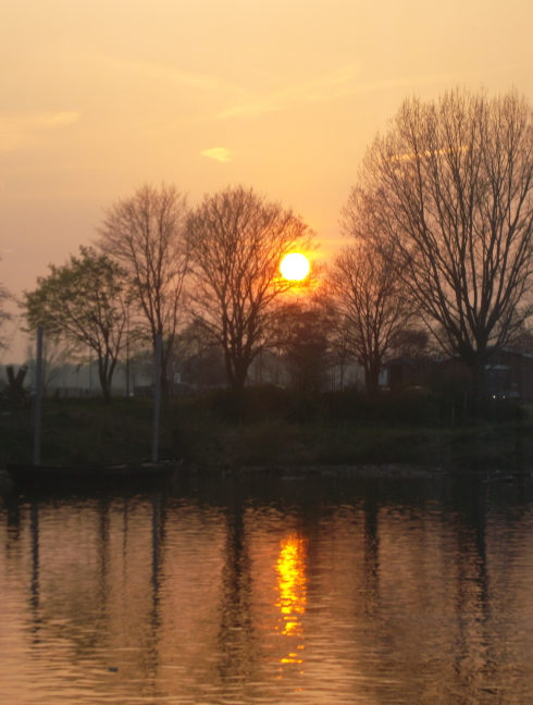 Sunset over the Rhine in Arnhem, near A Bridge Too Far