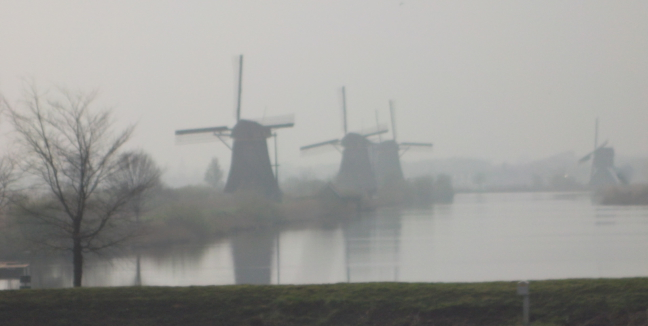 Some of the nineteen windmills in the mist at Kinderdijk