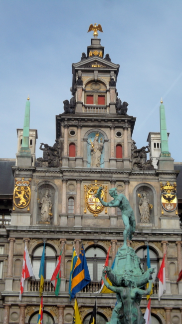 Statue of Roman hero cutting off the giant's hand, Antwerp town hall
