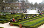 Fountain and formal garden by Rijksmuseum