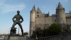 Medieval castle guards the Schelde riverfront in Antwerp