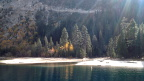 Golden aspens on the shore of Emerald Bay, Lake Tahoe