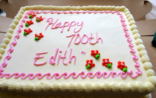 Edith has graduated from candles; but she is really only 100, not 700