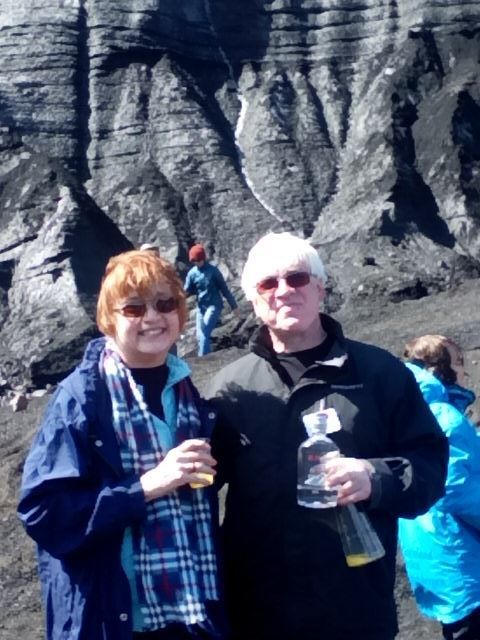 Toasting with Aquavit at the base of a glacier