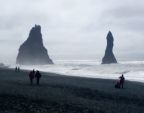 Rock stacks and black sand beach, SE Iceland -- windy day