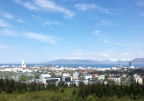 View of Reykjavik from round tower; Snaefellsness peninsula in the distance