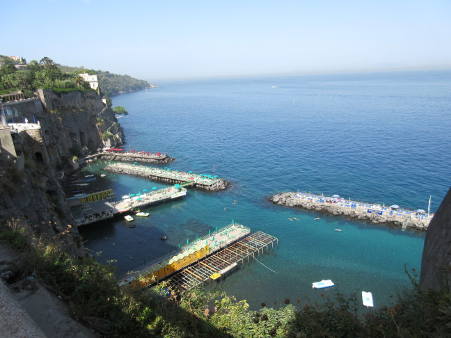 Bay of Naples shoreline and swimming area from Sorrento promenade