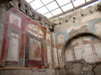 Frescoes in Herculaneum, rescued from layers of volcanic ash