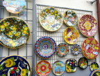 Brilliant Majolica pottery on display in Ravello