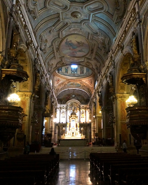 Inside the cathedral in Santiago