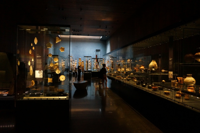 An underground crypt houses the museum of Precolumbian Art's collection of ancient artifacts