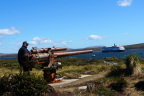 WW II cannon greets 21st century cruise ship in the Falklands
