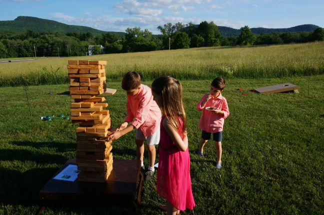 Father-of-the-bride Alan built many pieces for the wedding including this giant jenga set