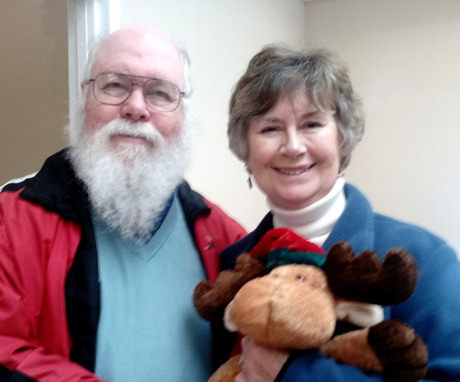 Fred, Cousin Judy, and her moose, January, 2016