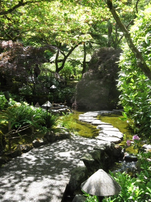 Meandering path through Japanese garden at Butchart Gardens, Victoria, BC