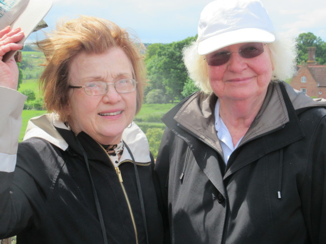 Mary and Susan atop the tower, Sissinghurst